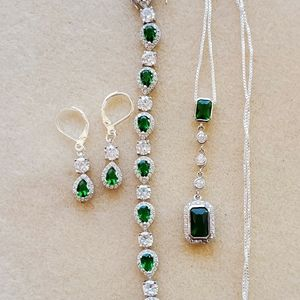 Genuine Emeralds and White Sapphire Set